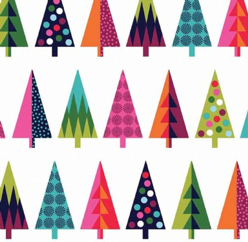 Makower - Wrap It Up, Trees - Christmas Patchwork Fabric
